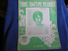 Those Ragtime Melodies/1912 Sheet Music/Blossom Seeley-Rube Marquard Photo Cover