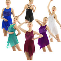 Women Girls Sequins Lyrical Ballet Dance Costume Gymnastics Ballroom Dress Skirt