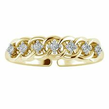 Toe Ring 14K Yellow Gold Fn 0.07 Ct Diamond Intertwined Adjustable Women's