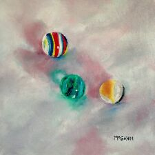 Original Oil On Canvas By Artist- Glass Marbles 5 In Sunlight - 8x8 - $115