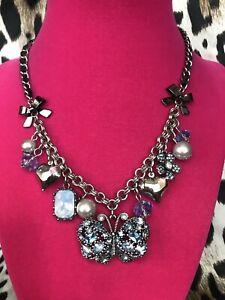 Betsey Johnson Bonjour Butterfly Light & Dark Blue Crystal Heart Pearl Necklace