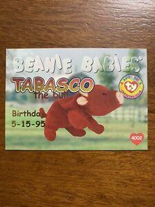 Ty Beanie Babies BBOC Series I Red Birthday Card 48 TABASCO Style 4002