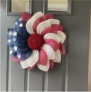 American Flag Wreath Red White Blue Patriotic Curls Wreath 4th July Decorating