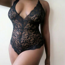 Sexy Lingerie Lace Dress Babydoll Womens Underwear Nightwear Black Plus size-M