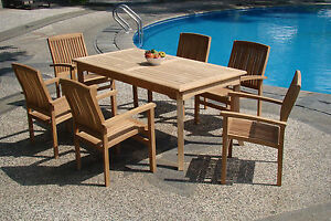 """7-Piece Outdoor Teak Dining Set: 83"""" Rectangle Table, 6 Stacking Arm Chairs Wave"""