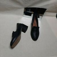 Office Black Leather Block Heel Penny - Loafers Size 6