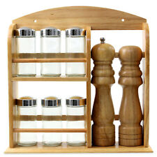 Set of Wooden Spice Rack w/ 6 Seasoning Jars Salt Pepper Grinder Herbs Container