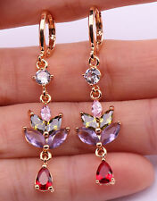 18K Yellow Gold Filled- 1.8'' Leaf Amethyst Ruby Teardrop Peridot Topaz Earrings
