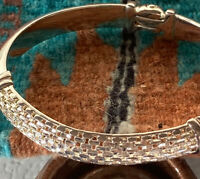 Sterling Silver Basket Weave Hinged Bangle Bracelet