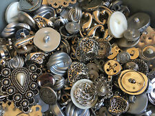 SWEET! 50 pcs  SILVER, ANTIQUE SILVER, NOVELTY BUTTONS  MIXED LOT
