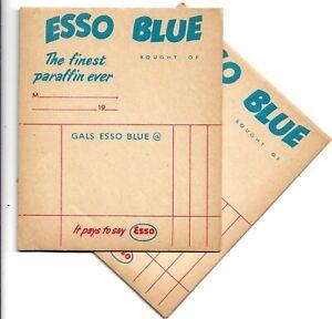 """ESSO BLUE """"The Finest Paraffin Ever"""" 20+ Vintage 1950s/60s Paper Receipt's"""