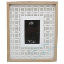 "Scandi Style White & Natural Wood Geometric Design Photo Frame - 4"" x 6"""
