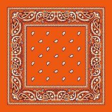 Coral Orange Paisley Center Cotton Bandana Scarf Handkerchief Hanky 18 X 18 Inch