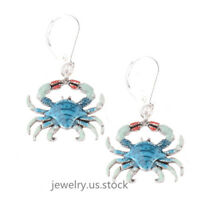 Women Blue Alloy Crab Animal Drop Dangle Hook Earrings Cute Girl Gift