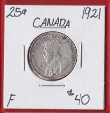 1921 25 Cent Canada Silver Twenty Five Cents Quarter Coin 6519   F - $40