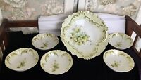 LOVELY VINTAGE HAND PAINTED SALAD SERVING SET TRANSLUCENT PORCELAIN, FLOWERS