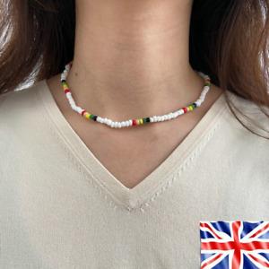 White Colorful Beaded String Necklace Bohemian Choker Cute Elegant Jewelry UK