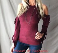 Ribbon Tie Cold Shoulder Long Bell Sleeve Soft Brushed Hacci Knit Sweater Top