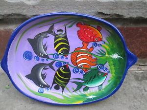 VINTAGE FISH SERVE DISH GOLDFISH SEAFOOD KOI NEMO PORPOISE CERAMIC OVAL PLATTER