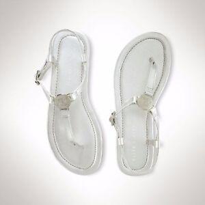 NEW Ralph Lauren Kids Girls TODDLER SUEANNE T Strap Leather Sandals Silver  7 10