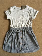 BNWT NEXT Girls Grey Blue Stripe Short Sleeved T-Shirt Dress 18-24 Months