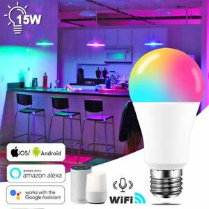 ✅15W LED WiFi Smart Bulb E27 B22 RGBW/W For Amazon Alexa Google Home APP Remote✅