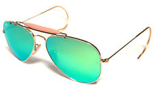 RAY BAN 3030 58 OUTDOORSMAN GOLD ORO PERSONALIZZATO GREEN MIRROR SPECCHIO REMIX