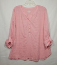 TALBOTS WOMENS TUNIC X-LARGE PINK TOP XL SHIRT 1/2 BUTTON FRONT CASUAL DRESS