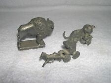 Lot of 3 Unbranded Mini Pewter Figurines Bison Horse & Buggy Cat & Kitten Lot#M