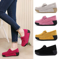 Women Suede Slip On Casual Flat Loafers Shoes Women Sneaker Platform Wedges Shoe