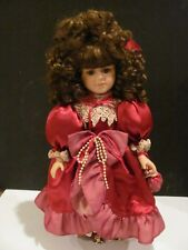 Beautiful Porcelain Collectible Doll Collector'S Choice Red Dress W/ Stand