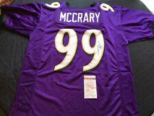 Michael McCrary Signed Baltimore Ravens Purple Custom Jersey JSA Witness