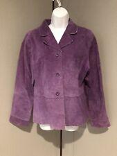 Ladies Suedessence Purple Leather Jacket Coat Size XL    F36
