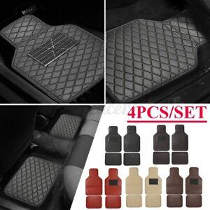 Set Front + Rear Universal Car SUV Sedan Floor Carpet Mat PU Leather Anti Skid
