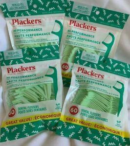 4 x 60 pcs ( 240 total )  PLACKERS - MINT  DENTAL FLOSSERS Floss Pick Sticks NEW