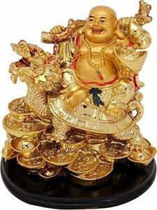 Vastu Feng Shui Laughing Buddha on Dragon Remove Bad Luck Idol Statue Figurine