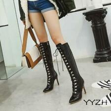 Women Sexy Knee High Boots Stilettos High Heels Riding Lace Up Fashion Shoes New