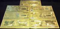 <FULL SET>AMAZING-10Pc.LOT~COIN+ GOLD$1BILLION-$500 Rep.*Banknotes W/COA+ FLAKEd