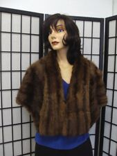 "Mint Natural Muskrat Fur Stole Wrap Cape Women Woman Size 48"" X 18"""