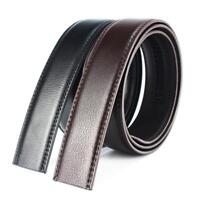 Luxury Men's Leather Automatic Ribbon Waist Strap Belt Without Buckle Black Fast