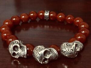 King Baby Studio Day Of Dead Sterling 3 skull Carnelian  Bracelets