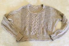 Decree Md Juniors Cropped Sweater Tan Open Knit