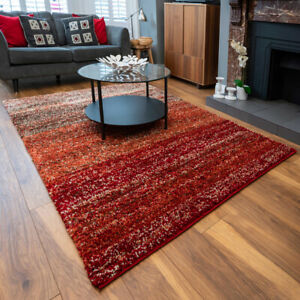 Terracotta Striped Rug Flecked Thick Shaggy Rugs Non Shed Fluffy Living Room Rug