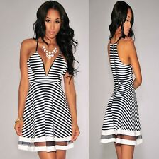 Sz M 10 12 Black White Striped Sleeveless Skater Casual Formal Party Dance Dress