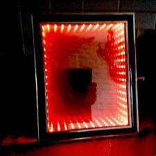 Led rgb autism Comfort Toy, 3D Illuminated Infinity Illusion Mirror, Black Frame