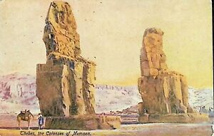 Thebes, the Colosses of Memnon, Egypt - 1910 Vintage Postcard