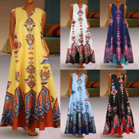 Womens Sleeveless V Neck Casual Loose Cocktail Party Floral Maxi Dress Plus Size