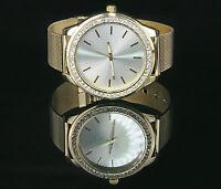 B1-Ware Damenuhr Gold mit  Strass Kristallen, Milanaise Armband Uhr Watch U1397
