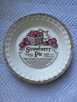 Vintage Strawberry Pie Recipe Dish Royal China Co 80s Ceramic Baker Pink Brown