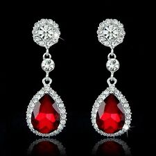 Red Earrings Dangle Crystal Wedding Bridal Jewellery Christmas  Bridesmaid GIFT
